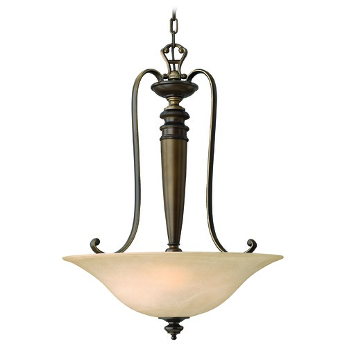 Hinkley Lighting Pendant Light with Alabaster Glass in Royal Bronze Finish 4594RY
