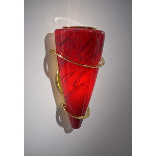 Holtkoetter Lighting Holtkoetter Modern Sconce Wall Light with Red Glass in Polished Brass Finish 2969 PB MGR
