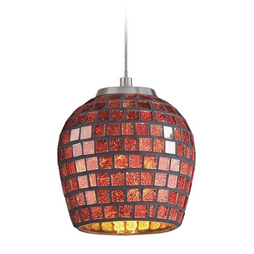 Elk Lighting Low Voltage LED Mini-Pendant Light with Copper Glass PF1000/1-LED-BN-CPR