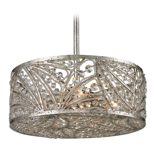 Elk Lighting Elk Lighting Renaissance Sunset Silver Pendant Light with Drum Shade 16243/4