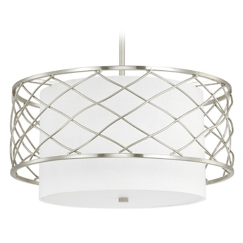 Capital Lighting Capital Lighting Sawyer Brushed Nickel Pendant Light with Drum Shade 4833BN-612