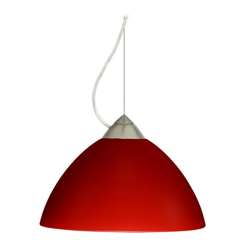 Besa Lighting Besa Lighting Tessa Satin Nickel LED Pendant Light with Bell Shade 1KX-420131-LED-SN