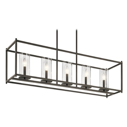 Kichler Lighting Modern Linear Chandelier Olde Bronze Crosby by Kichler Lighting 43995OZ