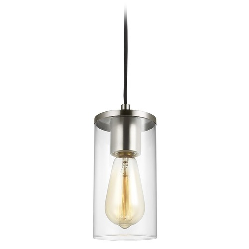 Sea Gull Lighting Sea Gull Lighting Zire Brushed Nickel Mini-Pendant Light with Cylindrical Shade 6190301-962