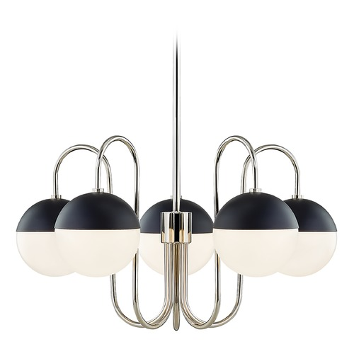 Mitzi by Hudson Valley Mitzi By Hudson Valley Renee Polished Nickel / Black Chandelier H344805-PN/BK