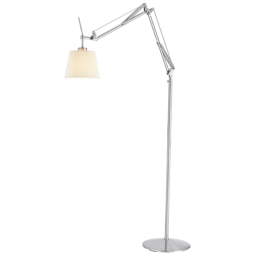 Adesso Home Lighting Modern Swing Arm Lamp with Beige / Cream Shade in Satin Steel Finish 3156-22
