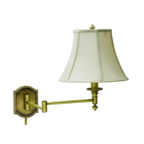 House of Troy Lighting Swing Arm Lamp with White Shade in Antique Brass Finish WS761-AB