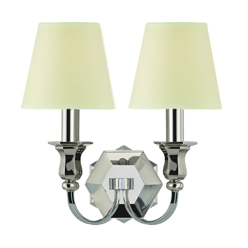 Hudson Valley Lighting Sconce Wall Light with Beige / Cream Paper Shades in Polished Nickel Finish 1412-PN