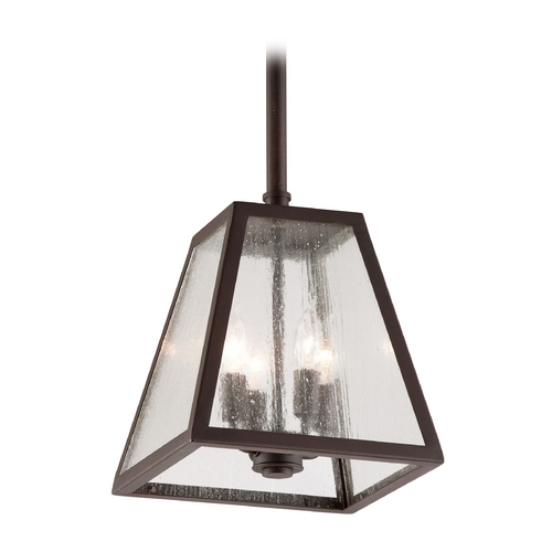 Troy Lighting Outdoor Hanging Light with Clear Glass in River Valley Rust Finish FCD3437-C