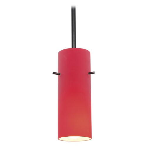 Access Lighting Modern Mini-Pendant Light with Red Glass 28030-1R-ORB/RED