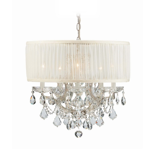 Crystorama Lighting Crystal Mini-Chandelier with White Shade in Polished Chrome Finish 4415-CH-SAW-CLM