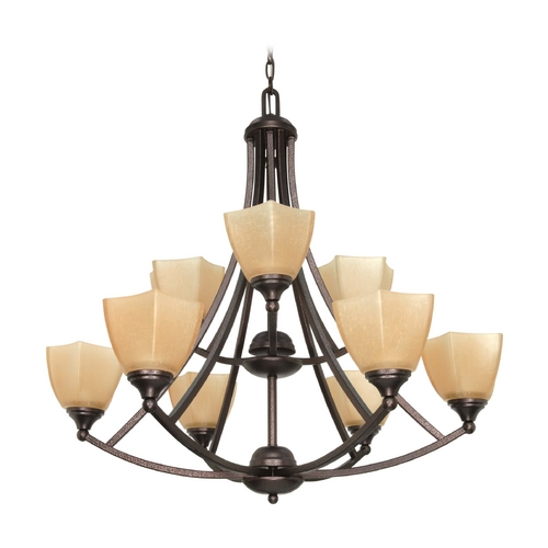 Nuvo Lighting Chandelier with Beige / Cream Glass in Copper Bronze Finish 60/063