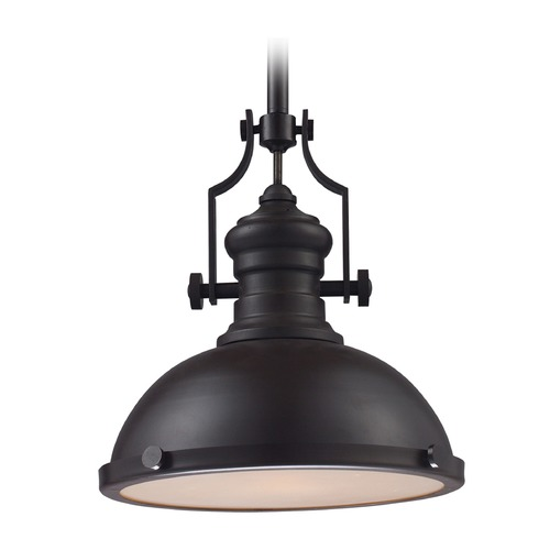 Elk Lighting Elk Lighting Chadwick Oiled Bronze LED Pendant Light with Bowl / Dome Shade 66134-1-LED