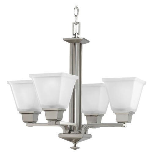 Progress Lighting Progress Brushed Nickel Four-Light Chandelier with Square Glass P4001-09