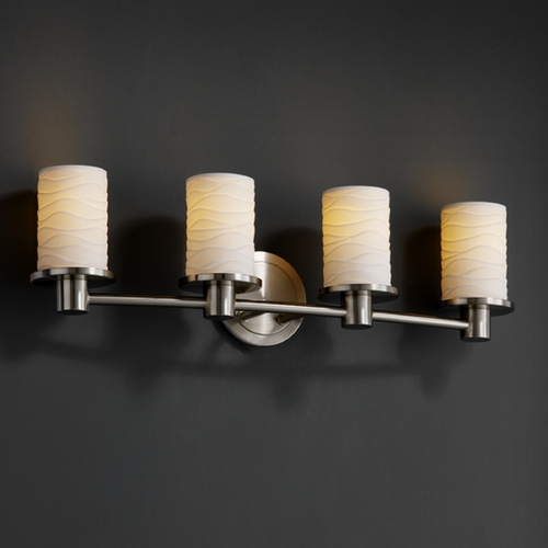 Justice Design Group Justice Design Group Limoges Collection Bathroom Light POR-8514-10-WAVE-NCKL