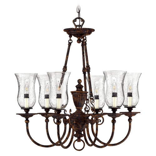Hinkley Lighting Bronze Chandelier with Bell Glass Shades and Six Lights 4626FB