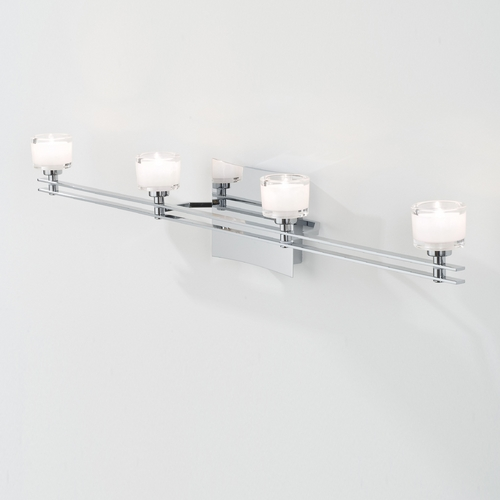 Holtkoetter Lighting Holtkoetter Modern Bathroom Light with White Glass in Chrome Finish 5584 CH G5011
