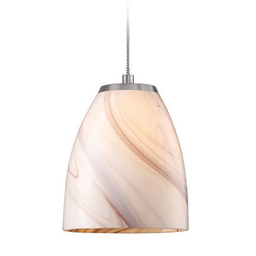 Elk Lighting Low Voltage LED Mini-Pendant Light with Beige / Cream Glass PF1000/1-LED-BN-CR