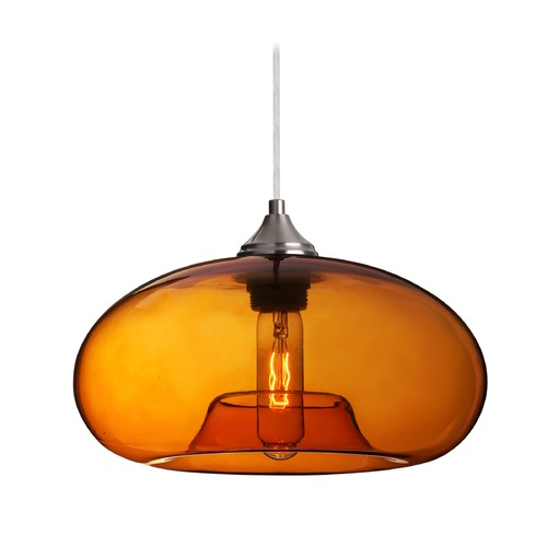 Besa Lighting Besa Lighting Bana Amber Glass Satin Nickel Pendant Light 1JT-BANAAM-SN