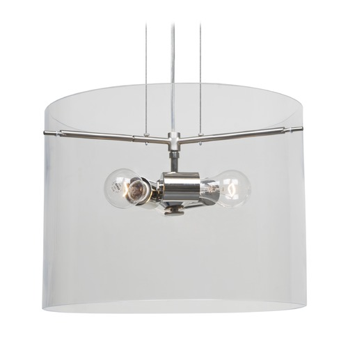 Besa Lighting Besa Lighting Pahu Satin Nickel Pendant Light with Drum Shade 1KG-C00707-SN-NI