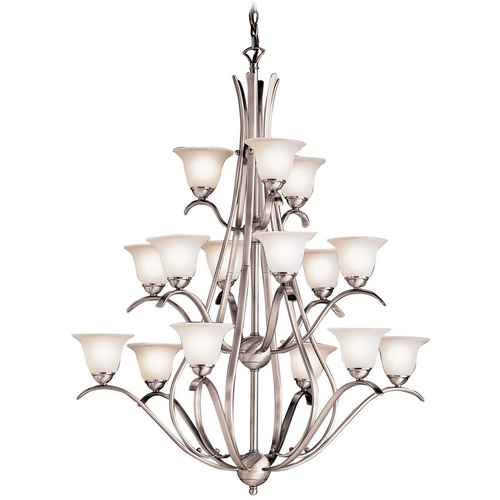 Kichler Lighting Kichler Chandelier with White Glass in Brushed Nickel Finish 2523NI