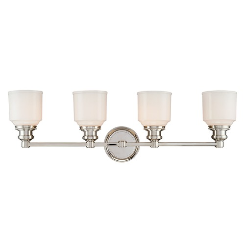 Hudson Valley Lighting Bathroom Light with White Glass in Polished Nickel Finish 3404-PN