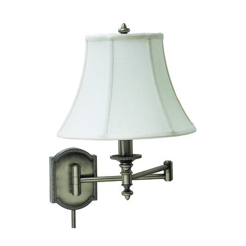 House of Troy Lighting Swing Arm Lamp with White Shade in Antique Silver Finish WS761-AS