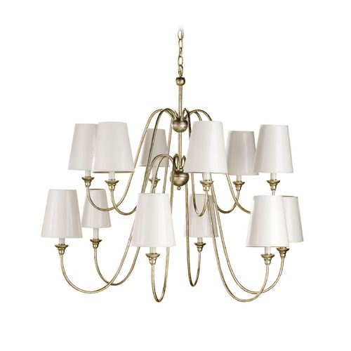 Currey and Company Lighting Modern Chandelier with White Paper Shades in Silver Leaf Finish 9289