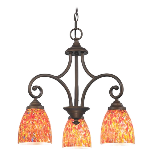 Design Classics Lighting Mini-Chandelier with Multi-Color Glass in Bronze Finish 716-220 GL1012MB
