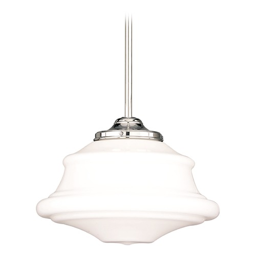 Hudson Valley Lighting Schoolhouse Pendant Light with White Glass in Polished Nickel Finish 3416-PN