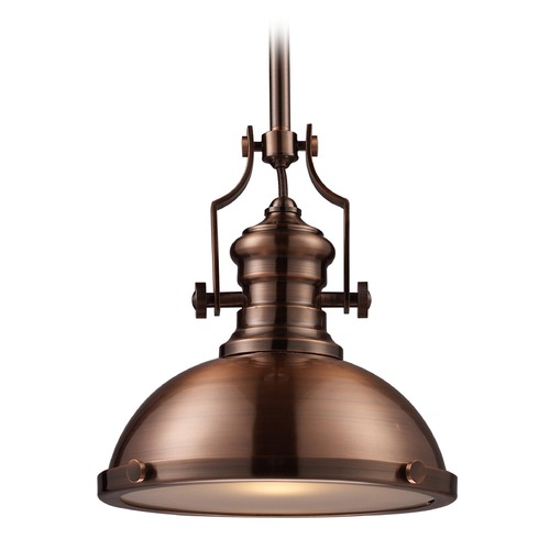 Elk Lighting Elk Lighting Chadwick Antique Copper LED Pendant Light with Bowl / Dome Shade 66144-1-LED