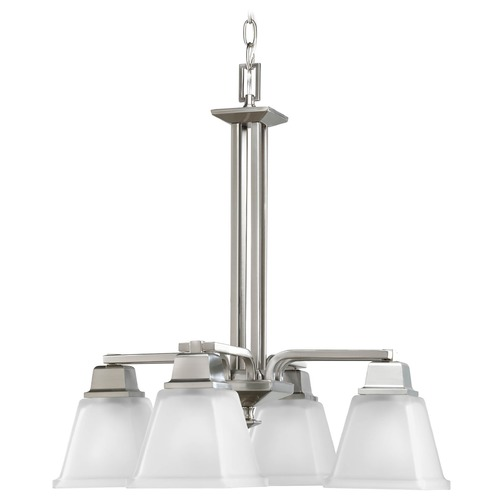 Progress Lighting Progress Chandelier with White Glass in Brushed Nickel Finish P4002-09
