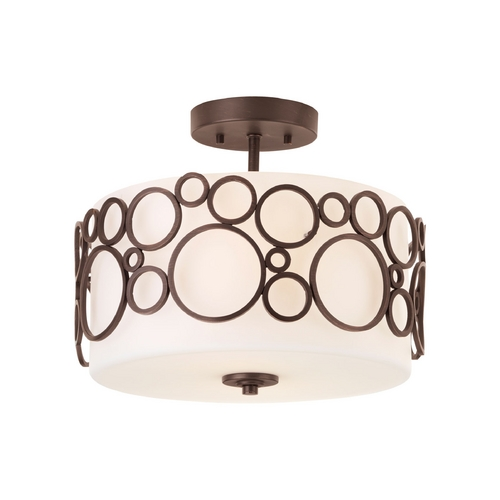 Progress Lighting Progress Modern Semi-Flushmount Ceiling Light with White Glass P3741-74
