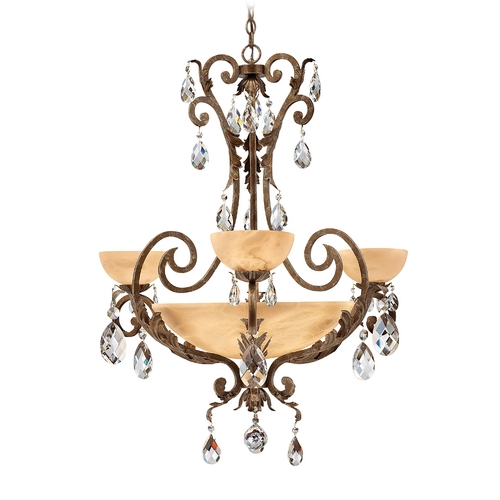 Frederick Ramond Chandelier with Alabaster Glass in French Marble Finish FR44100FRM