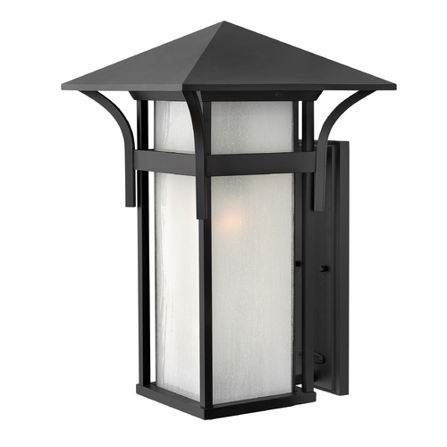 Hinkley Etched Seeded Glass Outdoor Wall Light Black Hinkley 2579SK