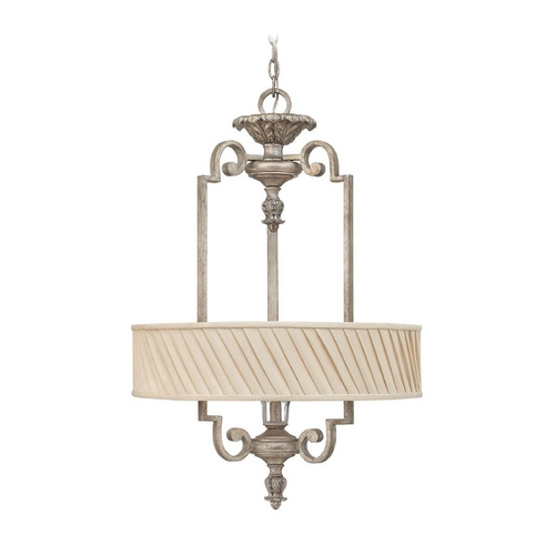 Frederick Ramond Drum Pendant Light with Beige / Cream Shade in Silver Leaf Finish FR42724SLF