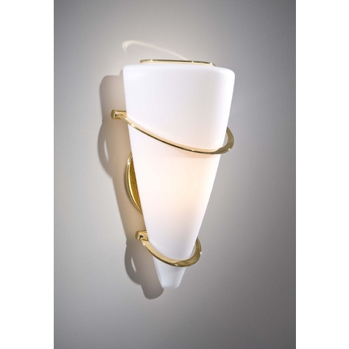 Holtkoetter Lighting Holtkoetter Modern Sconce Wall Light with White Glass in Polished Brass Finish 2969 PB SW