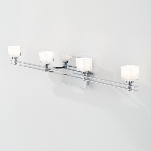 Holtkoetter Lighting Holtkoetter Modern Bathroom Light with White Glass in Chrome Finish 5584 CH G5012
