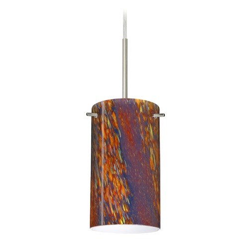 Besa Lighting Besa Lighting Stilo Satin Nickel LED Mini-Pendant Light with Cylindrical Shade 1BT-4404CE-LED-SN