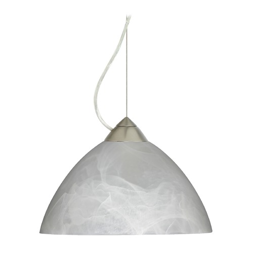 Besa Lighting Besa Lighting Tessa Satin Nickel LED Pendant Light with Bell Shade 1KX-420152-LED-SN