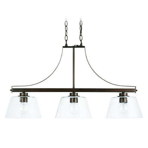 HomePlace by Capital Lighting HomePlace Independent Bronze 3-Light Island Light with Clear Seeded Glass 838434BZ