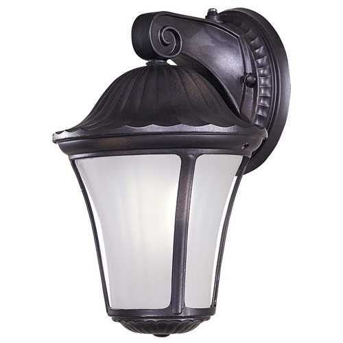 Minka Lavery Outdoor Wall Light with White Glass in Heritage Finish 8231-94-PL