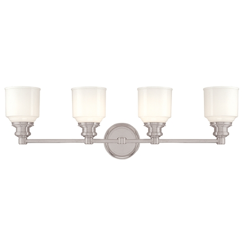 Hudson Valley Lighting Bathroom Light with White Glass in Satin Nickel Finish 3404-SN
