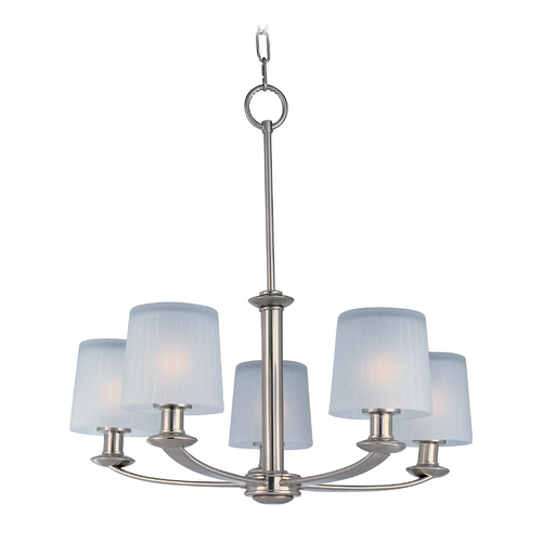 Maxim Lighting Chandelier with White Glass in Satin Nickel Finish 21505FTSN