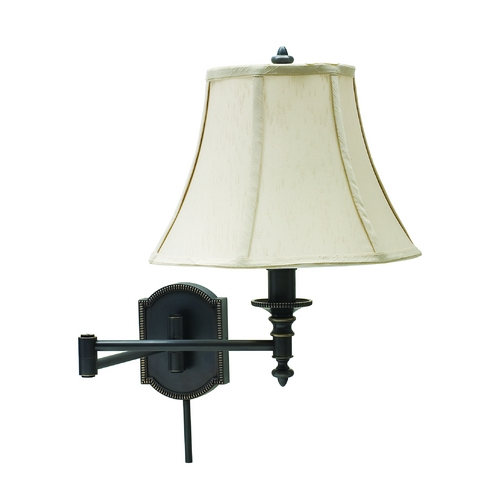 House of Troy Lighting Swing Arm Lamp with White Shade in Oil Rubbed Bronze Finish WS761-OB