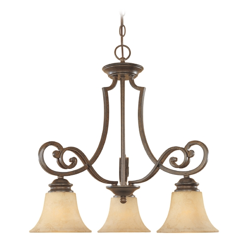 Designers Fountain Lighting Chandelier with Amber Glass in Forged Sienna Finish 81883-FSN