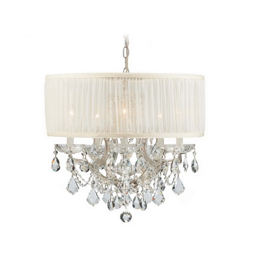 Crystorama Lighting Crystal Mini-Chandelier with White Shade in Polished Chrome Finish 4415-CH-SAW-CLS
