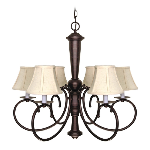 Nuvo Lighting Chandelier with Beige / Cream Shades in Old Bronze Finish 60/101
