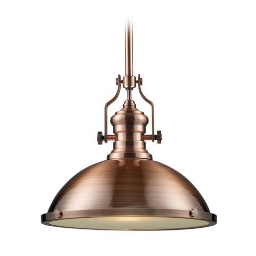 Elk Lighting Elk Lighting Chadwick Antique Copper LED Pendant Light with Bowl / Dome Shade 66148-1-LED