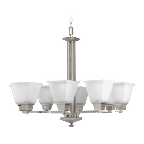 Progress Lighting Progress Chandelier with White Glass in Brushed Nickel Finish P4004-09